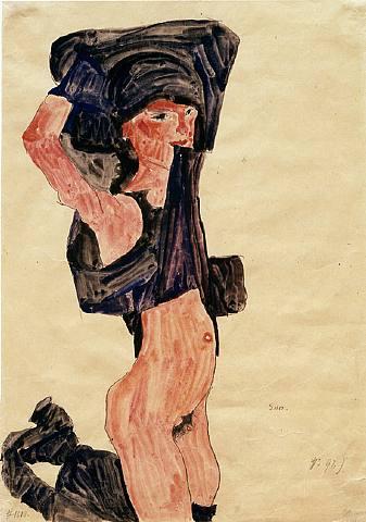 Egon Schiele, Kneeling Girl, Disrobing