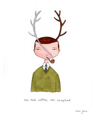 one real antler, one imagined - Signed Print