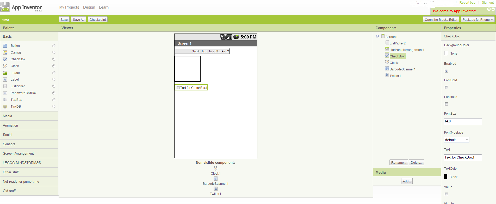 Screen shot for App Inventor for Andriod