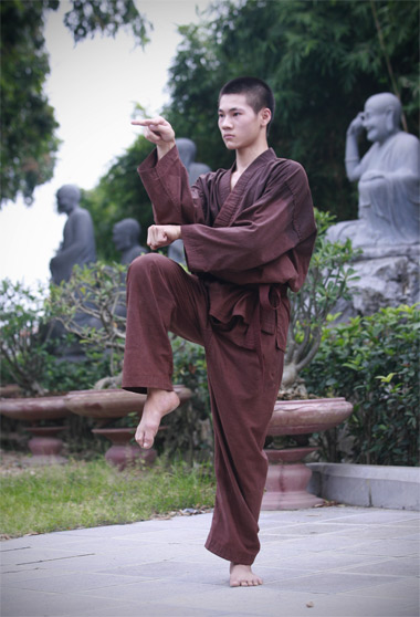 Giới trẻ lên chùa học võ Thiếu lâm.